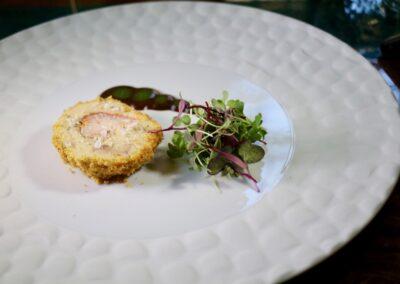 ¿GEOMETRÍA? |Redondo de foie gras y bogavante, oxtail de fresón con toques de ave y panela
