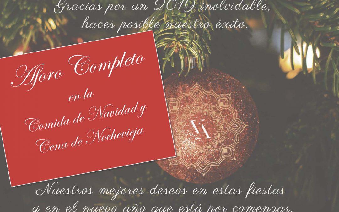 Aforo Completo en Navidad y Nochevieja